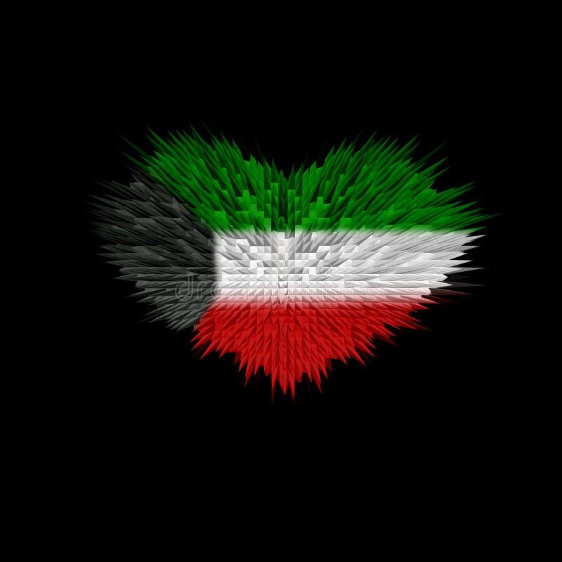 Hjärtan av den Kuwait flaggan vektor illustrationer