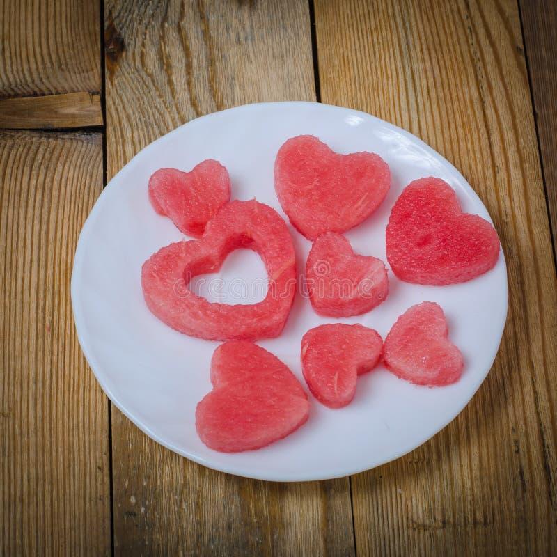 Hjärtan av vattenmelon royaltyfri foto