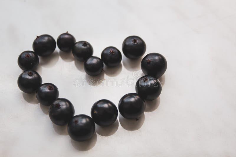 Hjärtan läggas ut från svart vinbärbär P? en vit bakgrund Det finns ett st?lle f?r text arkivfoton