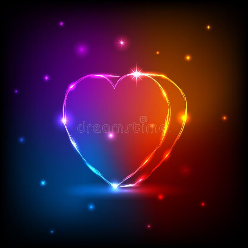 hjärtaneon stock illustrationer