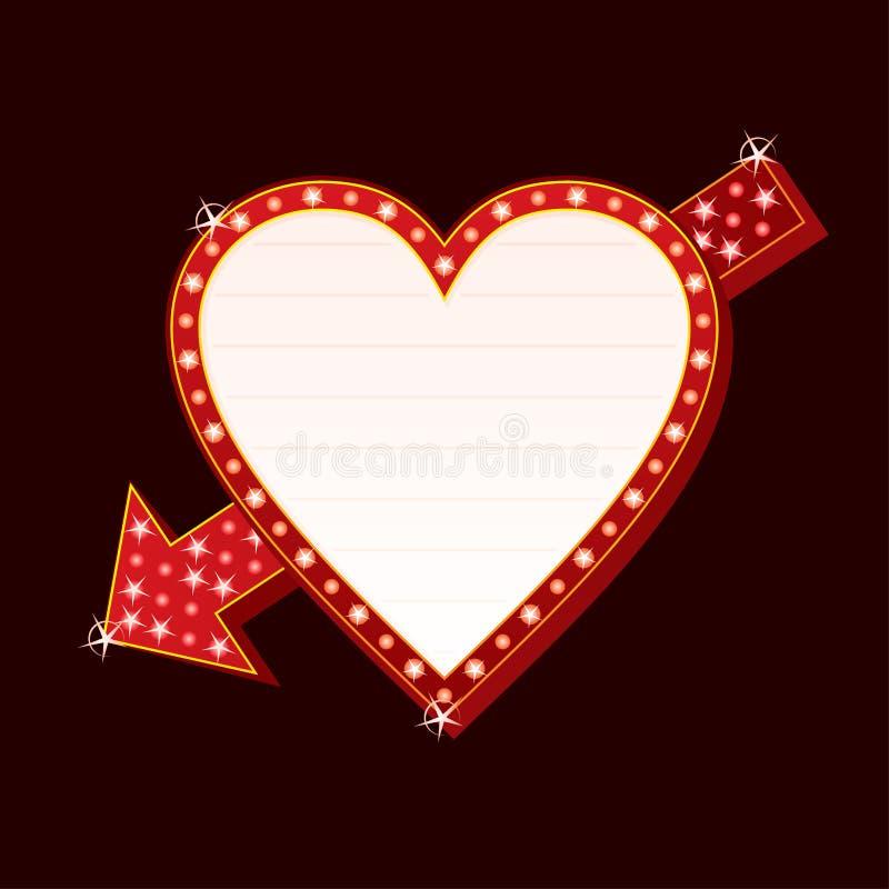 hjärtaneon royaltyfri illustrationer