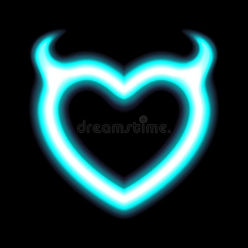 Hjärtaneon eller strålningseffekt för blått glöd av förälskelse med jäkelhorn för valentindagallhelgonaafton Semestra designen, n royaltyfri illustrationer