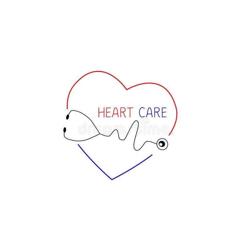 Hjärtaomsorg Logo Template Hälsovårdlogomall Medicinsk stetoskop- och hjärtasymbol royaltyfri illustrationer