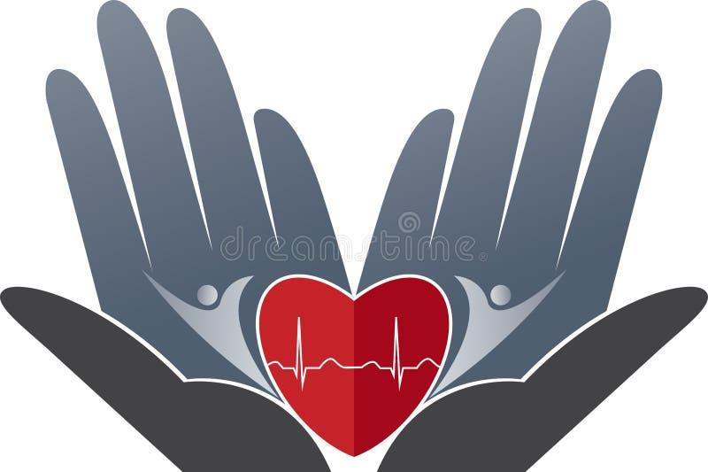 Hjärtaomsorglogo stock illustrationer
