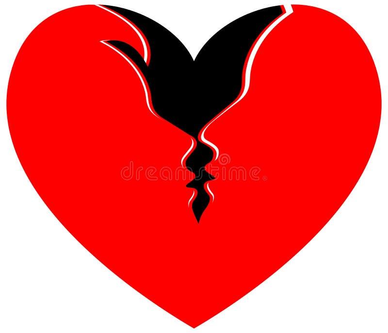 Hjärtapar vektor illustrationer