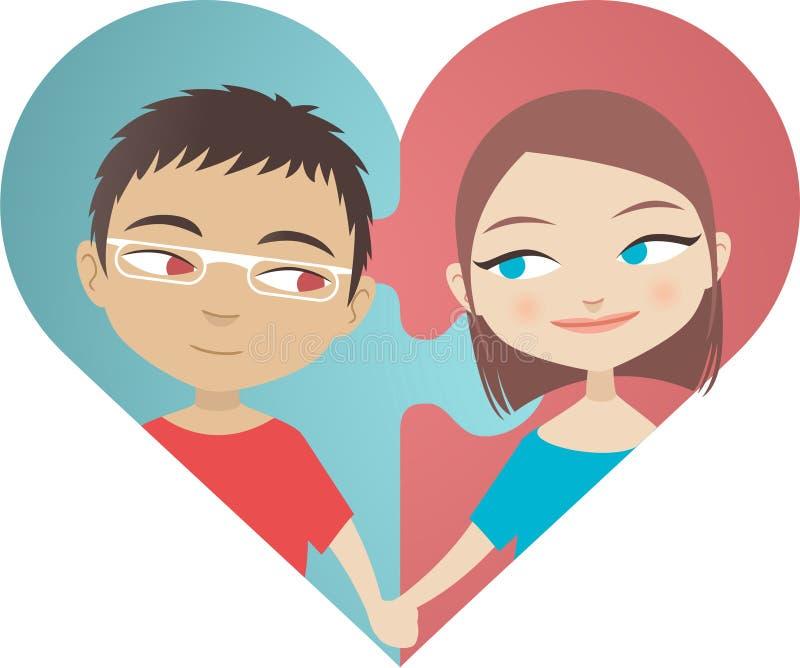 Hjärtapar stock illustrationer