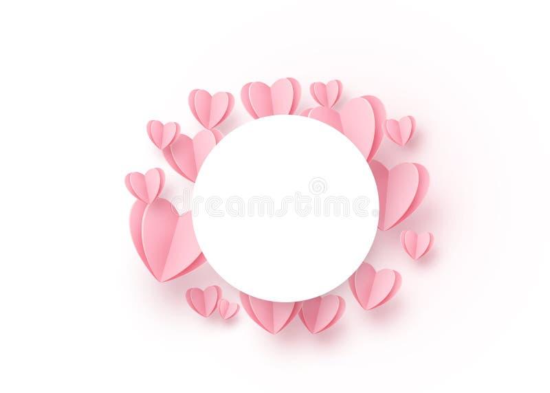 Hjärtarundabakgrund med ljust - rosa pappers- hjärtor och vit ram för cirkel på mitten kopiera avstånd Förälskelsemodell för stock illustrationer