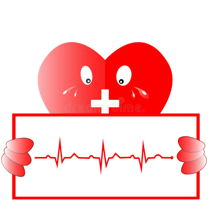 Hjärtarytmekg Hjärtasymbol med ekglinjen, vektordesign royaltyfri bild