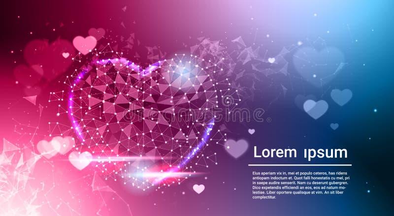 HjärtaShape lågt Poly mörker - blått glödande abstrakt förälskelsesymbol över Bokeh bakgrund med kopieringsutrymme stock illustrationer