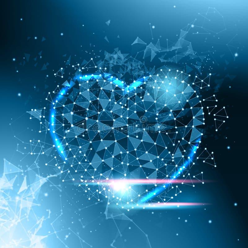HjärtaShape lågt Poly mörker - blått glödande abstrakt förälskelsesymbol royaltyfri illustrationer