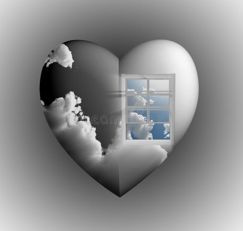 hjärtaskyfönster royaltyfri illustrationer