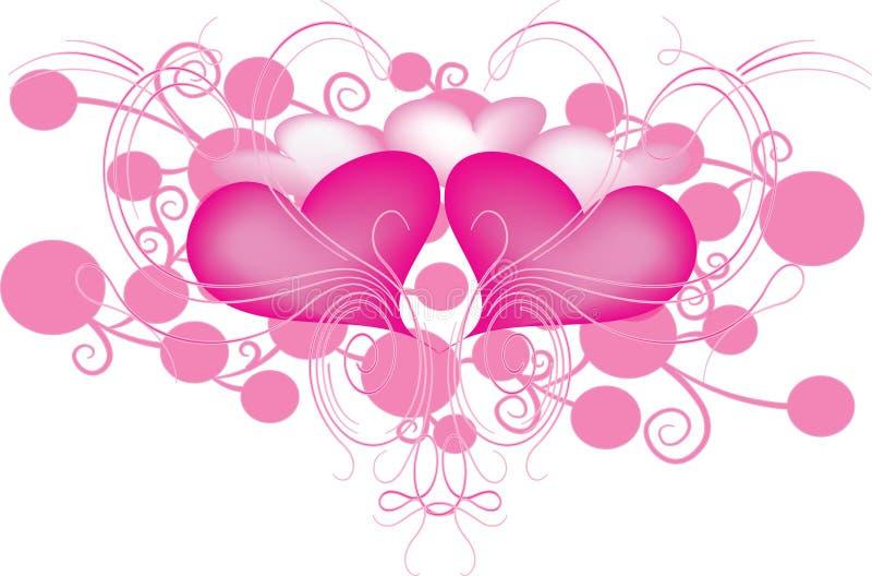 hjärtaswirls stock illustrationer