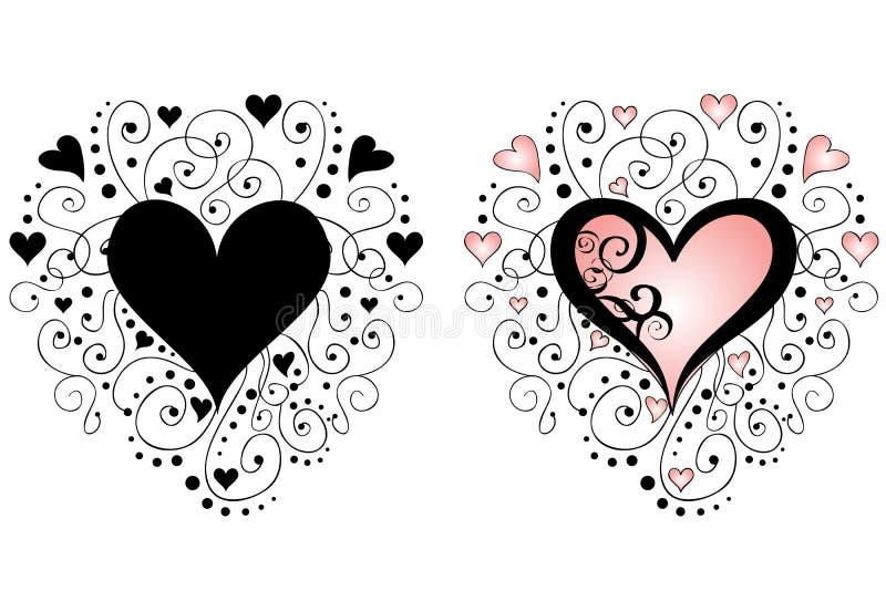 hjärtaswirlsvektor stock illustrationer