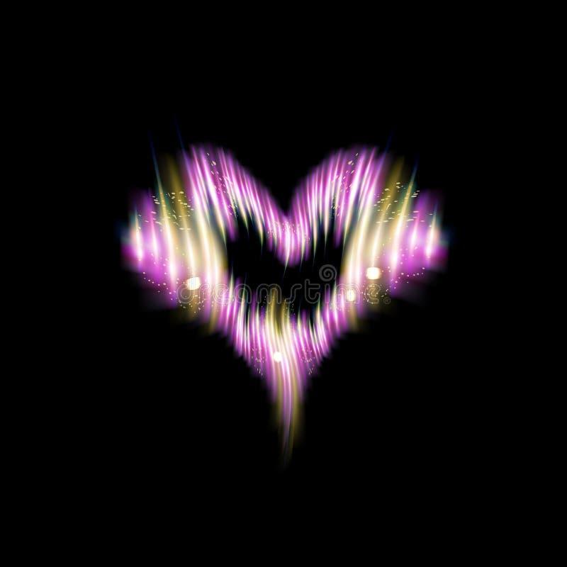 Hjärtasymbol av pråliga rosa energiremsor Glöd bristningar för ljus effekt med mousserar isolerat på svart bakgrund Valentindag, vektor illustrationer