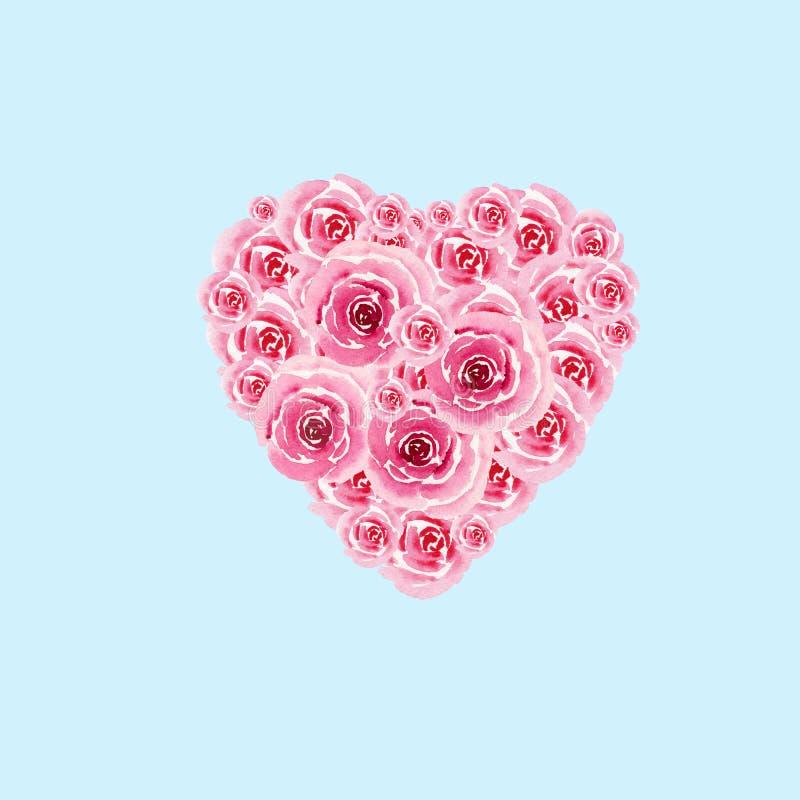 Hjärtasymbol från vattenfärgblommor av rosor som isoleras på blå bakgrund illustration s för hjärta för green för dreamstime för  vektor illustrationer