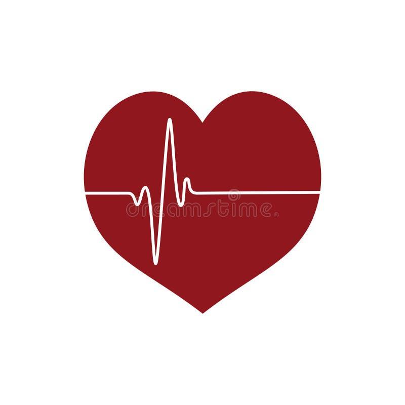 Hjärtasymbol med den heartbeating linjen vit bakgrund vektor illustrationer