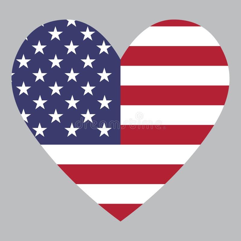 Hjärtasymbol med en kombination av Amerikas förenta staterlandsflaggan royaltyfri illustrationer