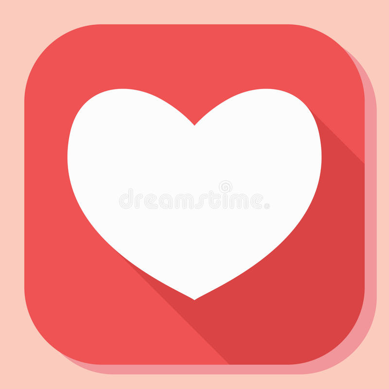 Hjärtasymbol med lång skugga Modernt enkelt plant känslaformtecken för färgbegrepp för bakgrund blåa internet Moderiktigt vektorf stock illustrationer