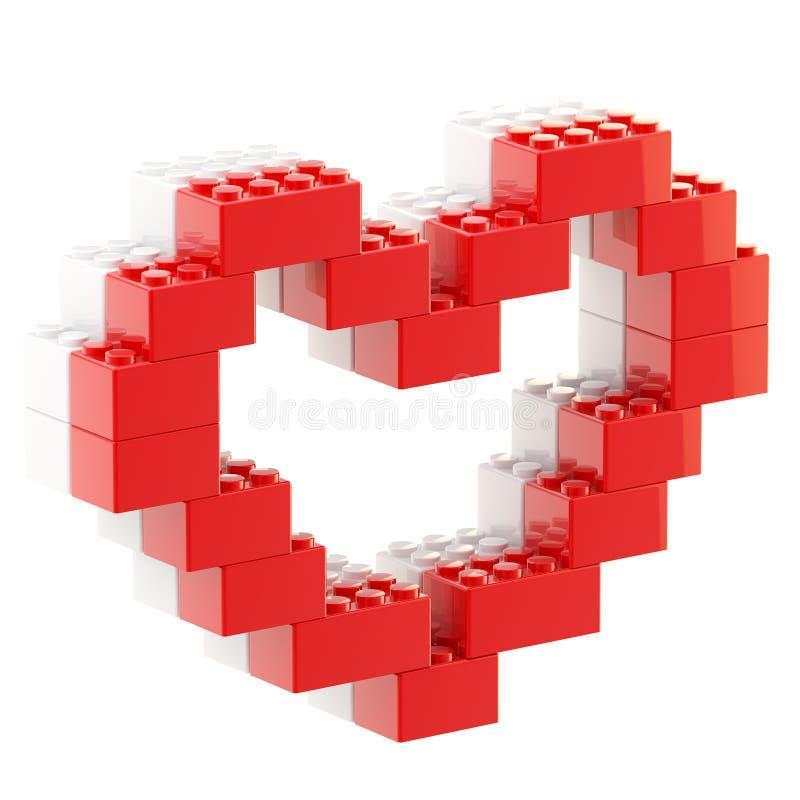 Hjärtasymbol som göras av leksaktegelstenar royaltyfri illustrationer