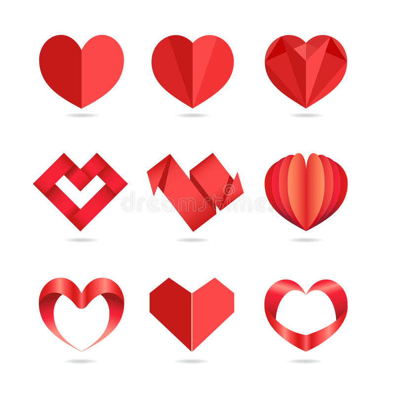 Hjärtasymboler royaltyfri illustrationer