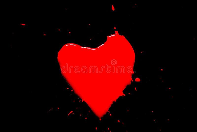 Hjärtasymbolet målade med röd målarfärg med färgstänk som isolerades omkring på en svart arkivfoton