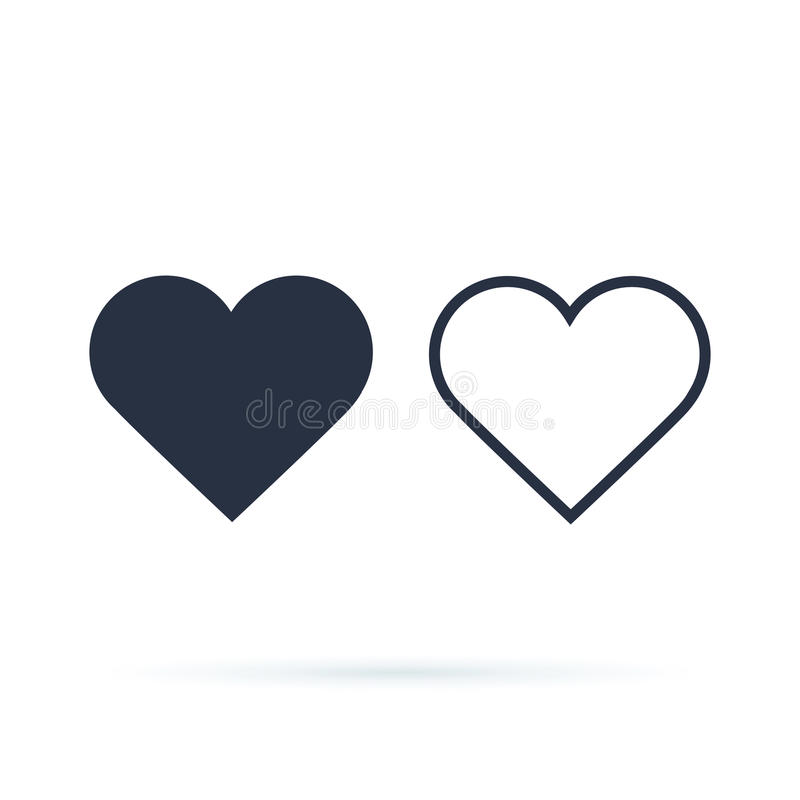 Hjärtasymbolsvektor Översikt och fulla hjärtor white för symbol för bakgrundsförälskelsered rose royaltyfri illustrationer