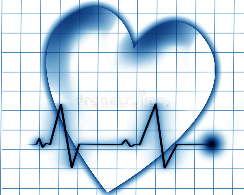Hjärtatakt på en övervaka royaltyfri illustrationer