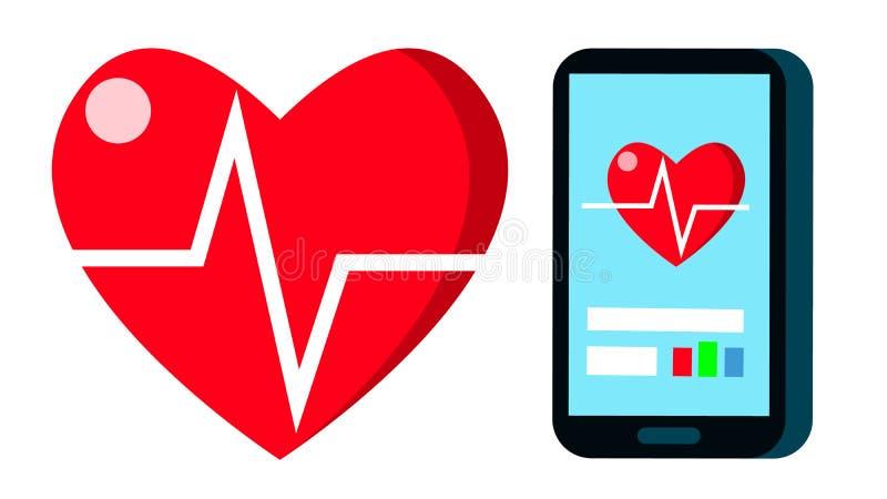 Hjärtatakt Rate Vector Puls diagram för kardiogramhjärtatecken på mobila Scren Applikation för hjärtslagsportkondition vektor illustrationer