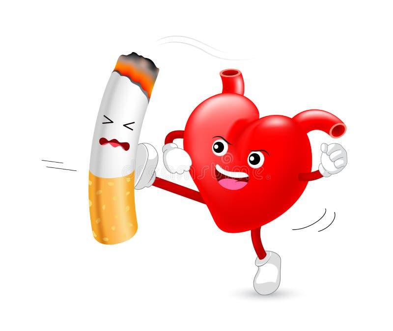 Hjärtatecken som anfaller cigaretten royaltyfri illustrationer