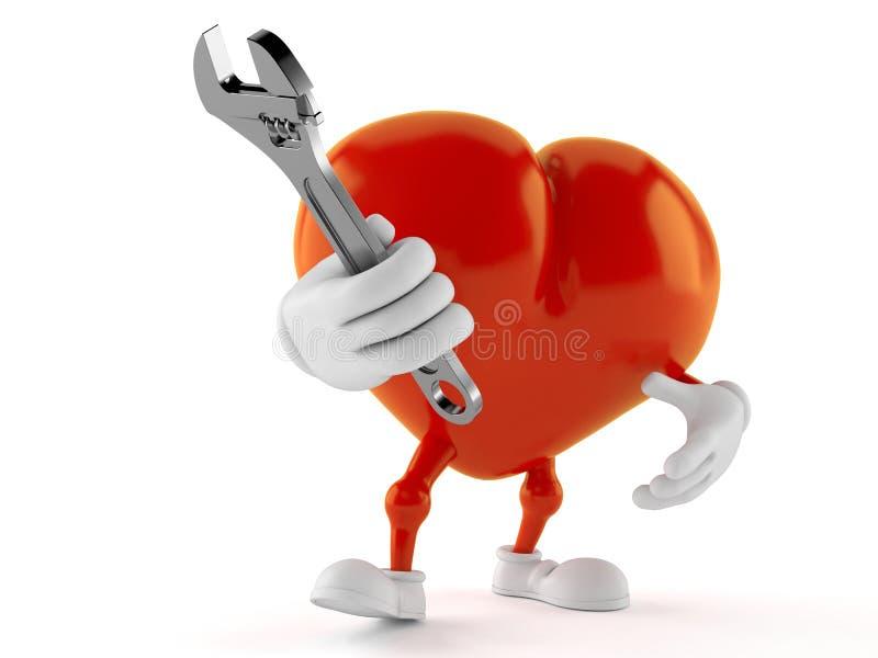 Hjärtatecken som rymmer den justerbara skiftnyckeln stock illustrationer