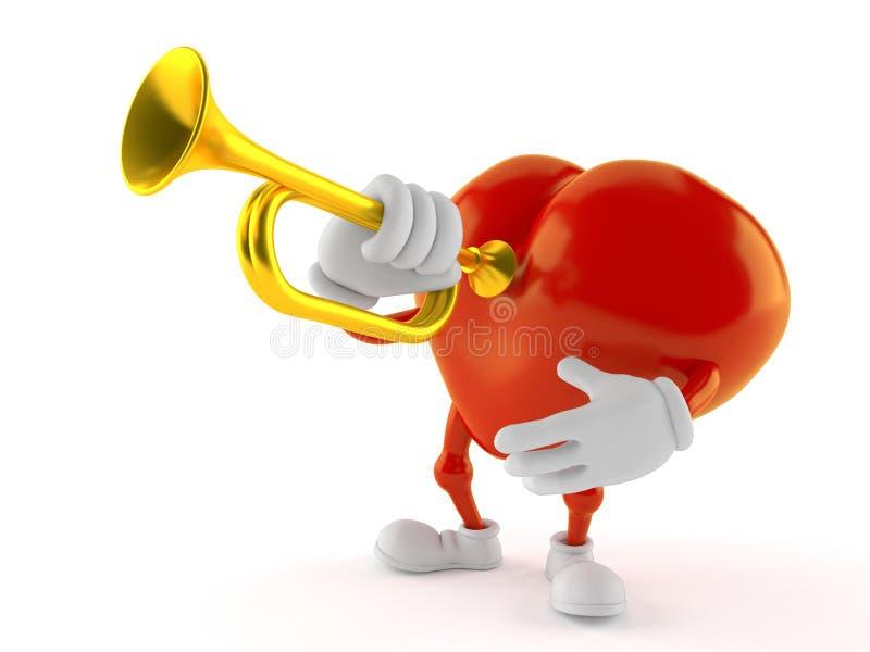Hjärtatecken som spelar trumpeten stock illustrationer