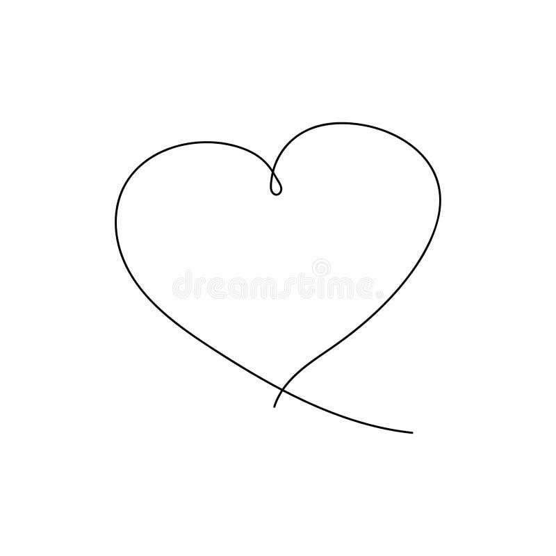 Hjärtateckning i fortlöpande linje vektor illustrationer