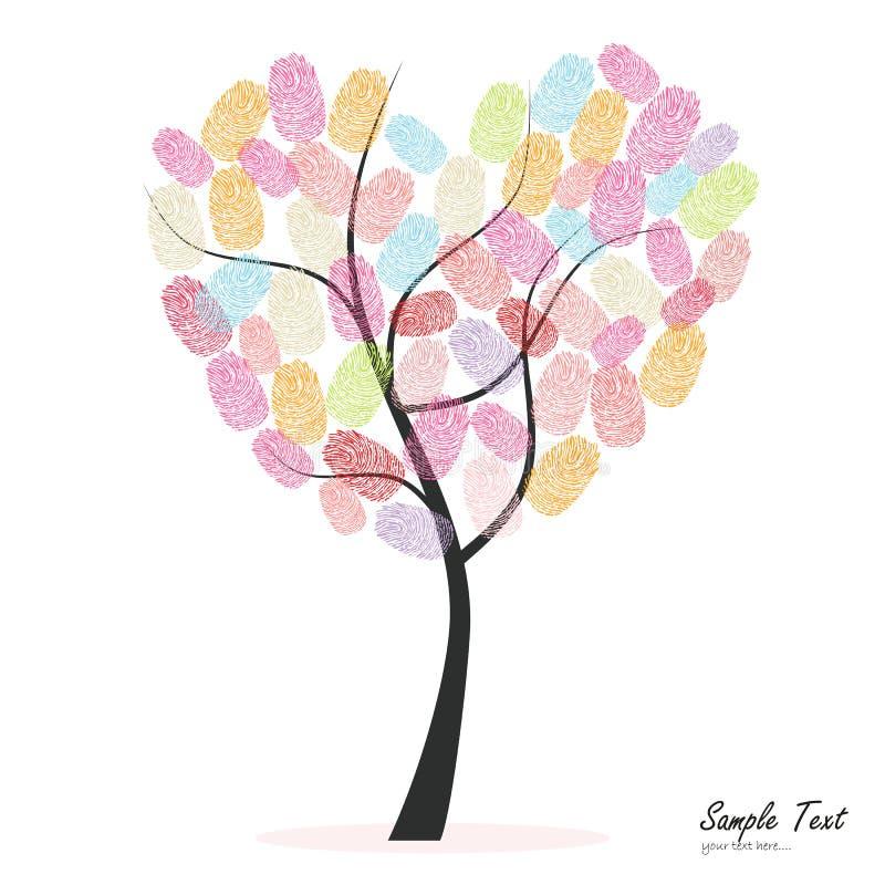 Hjärtaträd med den färgrika fingeravtryckvektorn royaltyfri illustrationer