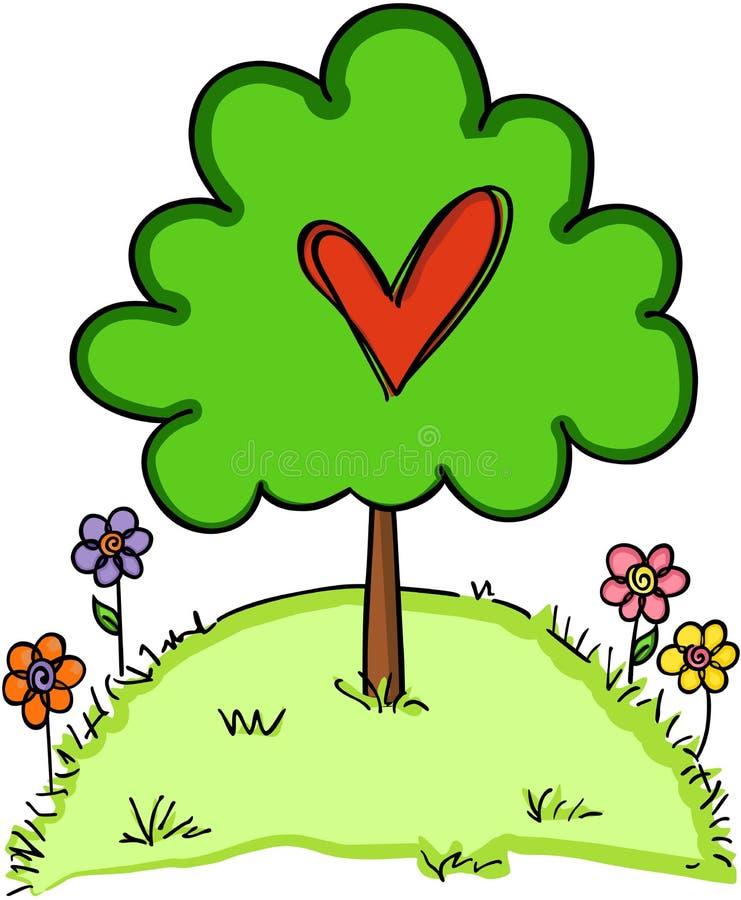 Hjärtaträdförälskelse stock illustrationer