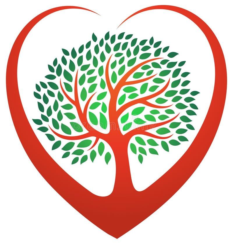 Hjärtaträdlogo stock illustrationer