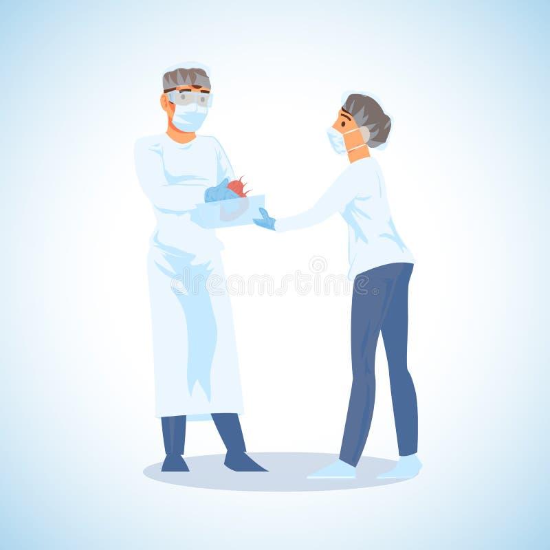 Hjärtatransplantationkirurg Operation Vector stock illustrationer
