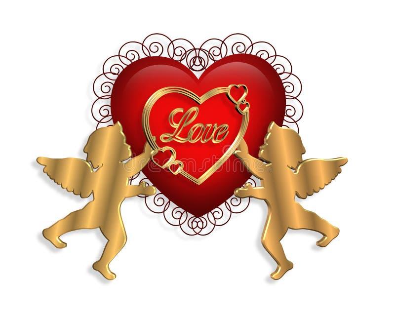 hjärtavalentin för cupids 3d stock illustrationer