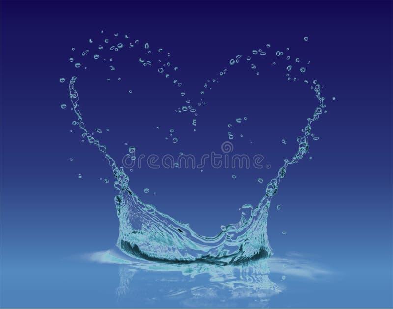 Hjärtavattenfärgstänk i en blå lutning stock illustrationer