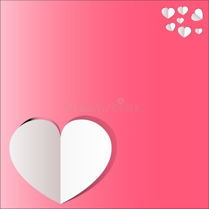 Hjärtavektor med rosa bakgrund och text stock illustrationer