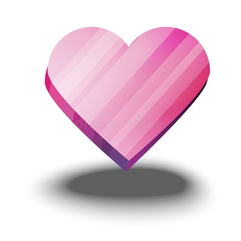 Hjärtavektor Moderiktig rosa hjärta som isoleras på vit bakgrund Goda för webbplats, hälsningkort och valentin dag royaltyfri illustrationer