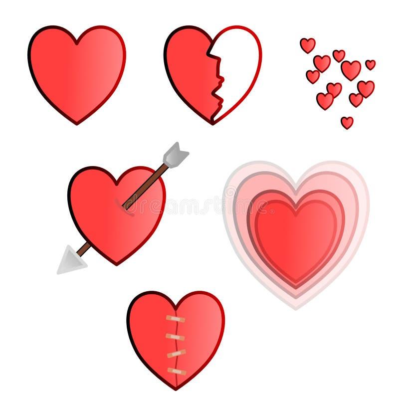 Hjärtavektorpacke med många olika stilar arkivfoton