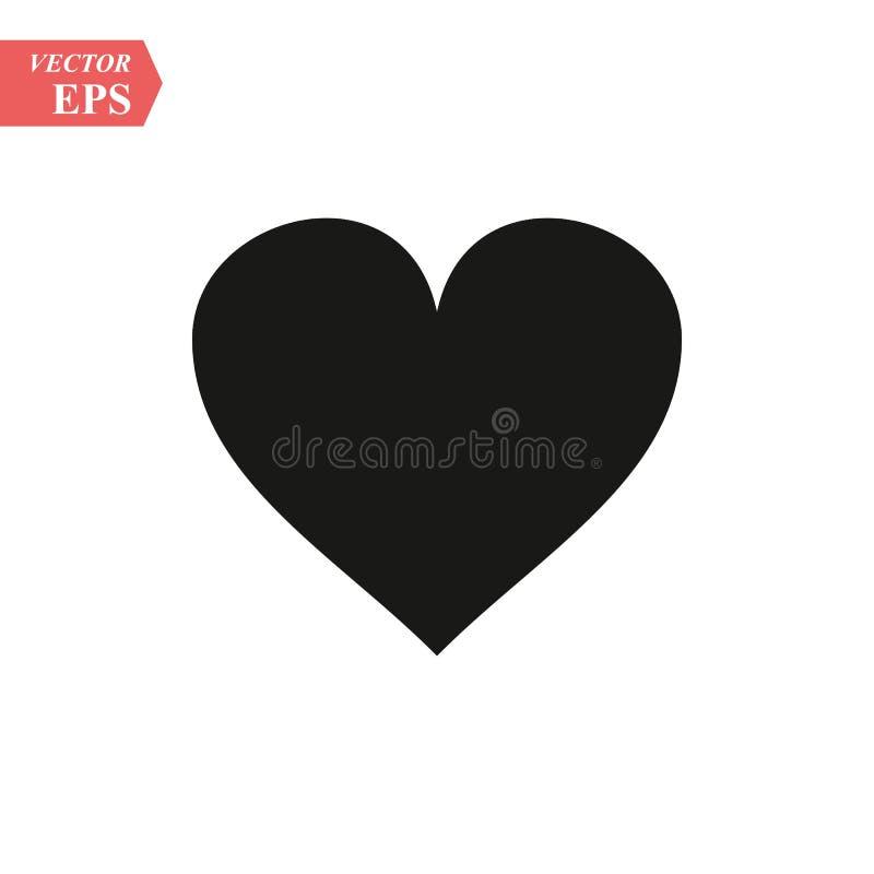 Hjärtavektorsymbol, förälskelsesymbol Tecken för dag för valentin` s, emblem som isoleras på vit bakgrund, lägenhetstil för diagr royaltyfri illustrationer