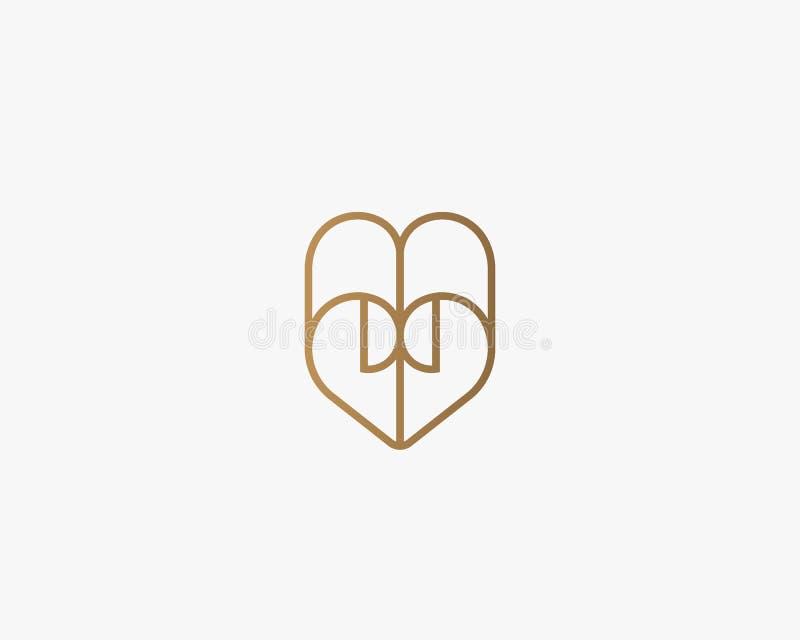 Hjärtavektorsymbol Logotyp för valentindagpapper Abstrakt linje design för dokumentlogosymbol stock illustrationer
