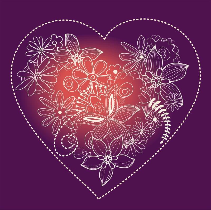 hjärtavektorviolet stock illustrationer