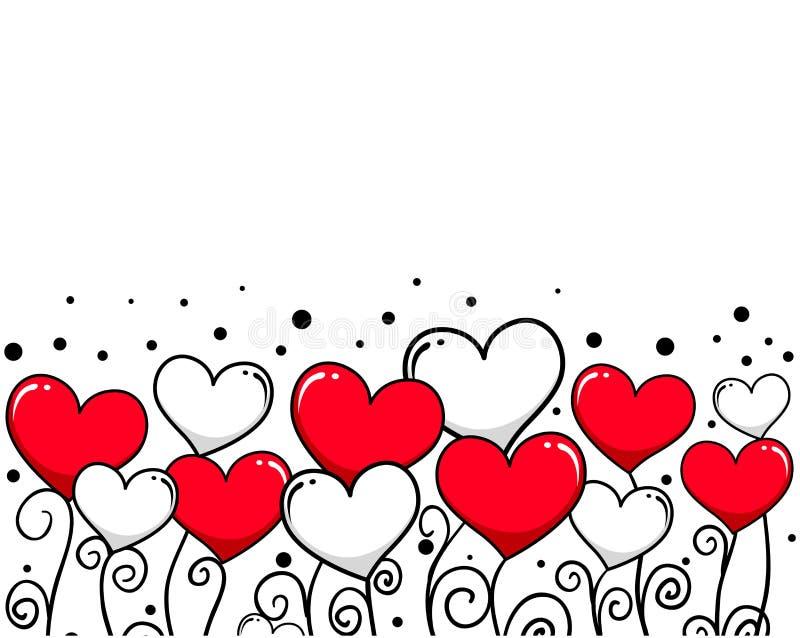 Hjärtavinrankabakgrund för valentindag royaltyfri illustrationer