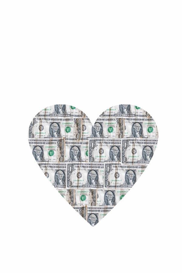 Hjärtform bestående av dollar isolerade Kärlek och penningbegrepp royaltyfri foto