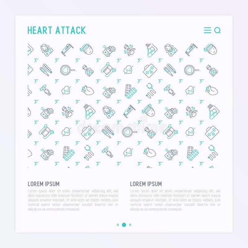 Hjärtinfarktbegrepp med den tunna linjen symboler royaltyfri illustrationer