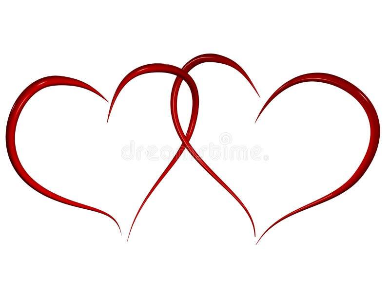 hjärtor älskar två stock illustrationer