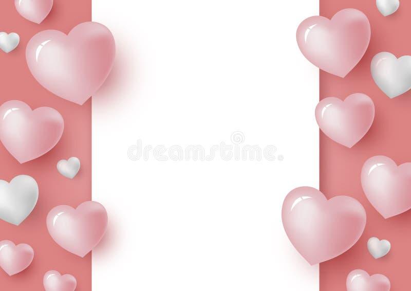 hjärtor 3d och tom vitbok på korallfärgbakgrund för valentindag- och bröllopkort stock illustrationer