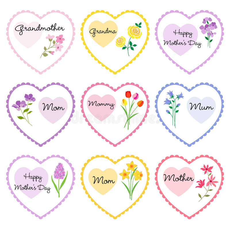Hjärtor för dag för moder` s med blommor royaltyfri illustrationer